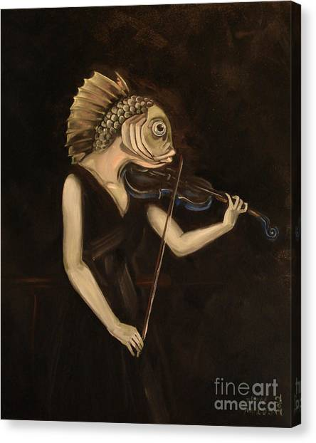 Violins Canvas Print - Fish With Violin by Ellen Marcus