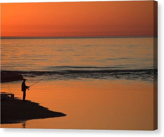 Michigan State University Canvas Print - Fisherman At Sunset by Twenty Two North Photography