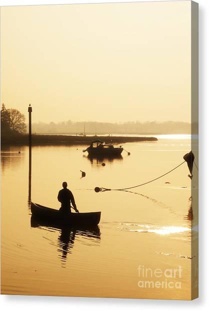 Lake Sunsets Canvas Print - Fisherman On Lake by Pixel Chimp