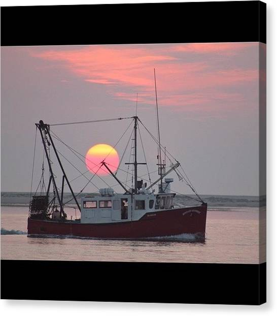 Fishing Boats Canvas Print - Fishermans Sunrise by Justin Connor