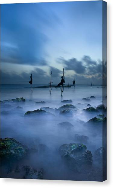 Fishermen At Blue Hour Canvas Print