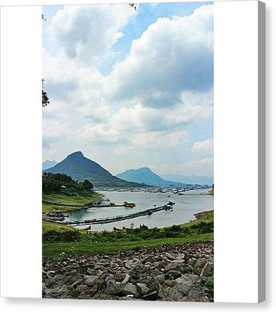 Shakira Canvas Print - #fishery #mountain #sky #blue #clouds by Inas Shakira