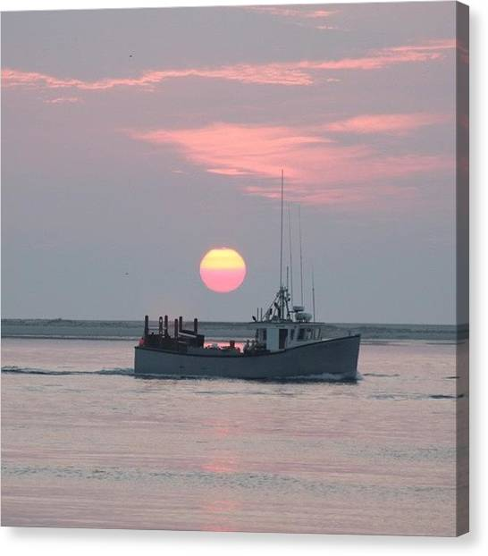 Fishing Boats Canvas Print - Fishing At Sunrise In Chatham by Justin Connor