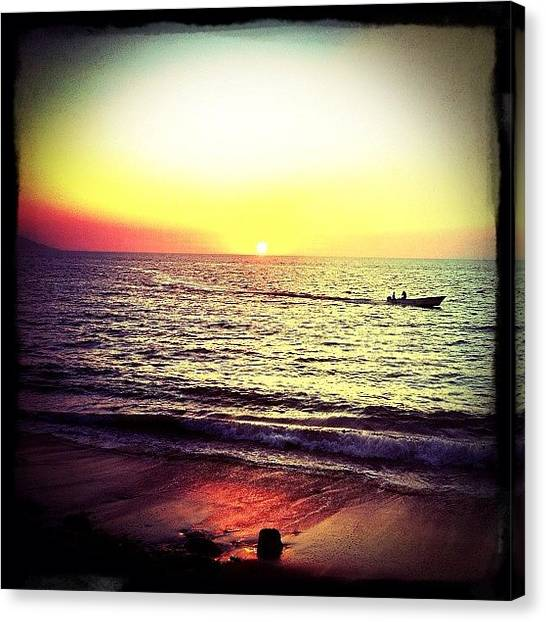 Ocean Sunsets Canvas Print - Fishing At Sunset (puerto Vallarta) by Natasha Marco