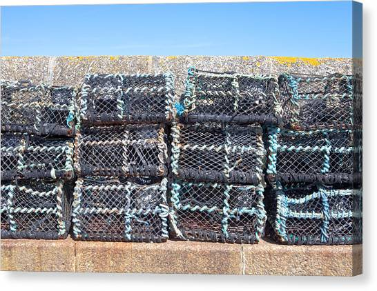 Crabbing Canvas Print - Fishing Baskets by Tom Gowanlock