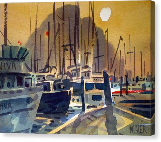 Fishing Boasts On Moro Bay Canvas Print by Donald Maier
