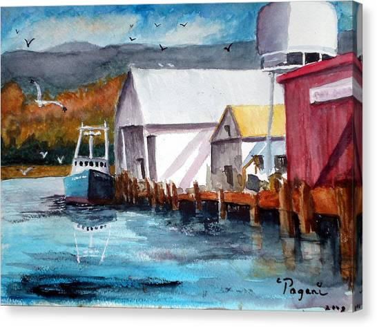Fishing Boat And Dock Watercolor Canvas Print