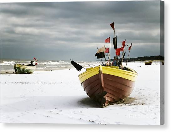 Fishing Boats At Snowy Beach Canvas Print