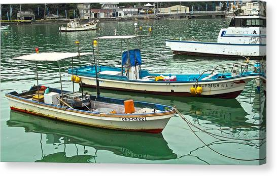 Fishing Boats - Okinawa Japan Canvas Print by Jocelyn Kahawai