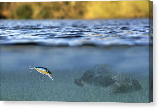 Bass Fishing Canvas Print - Fishing Lure In Use by Meirion Matthias