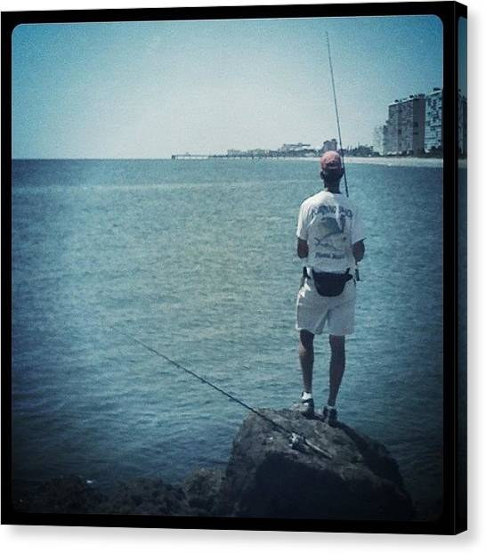Fishing Canvas Print - #fishing #man #ocean #beautiful by Emily W