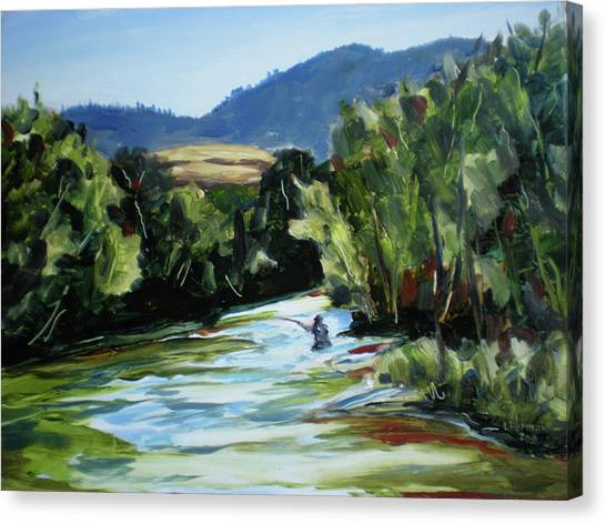 Fishing On The Boise Canvas Print