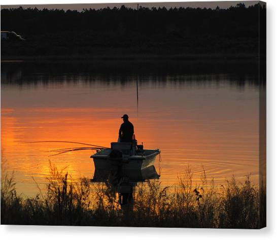 Fishing On Tower Lake Canvas Print