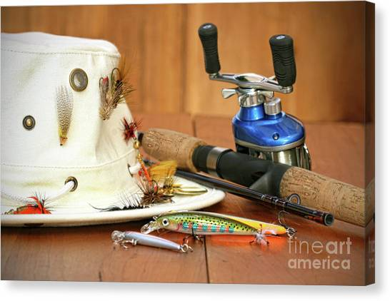 Angling Canvas Print - Fishing Reel With Hat And Color Lures by Sandra Cunningham