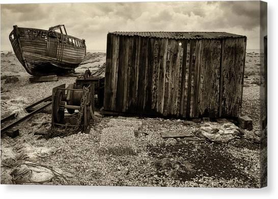 Fishing Remains At Dungeness Canvas Print by David Turner