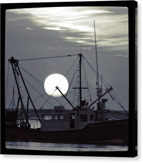 Fishing Boats Canvas Print - Fishing Sunrise In Bw by Justin Connor