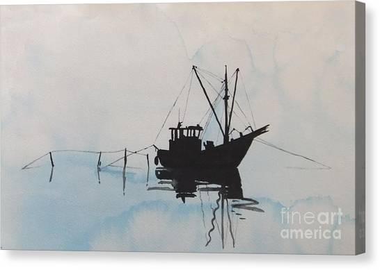 Fishingboat In Foggy Weather Canvas Print