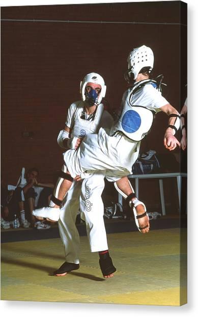 Taekwondo Canvas Print - Fitness Test by Mauro Fermariello