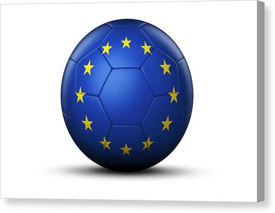 Uefa Champions Canvas Print - Flag Of Chamions League On Soccer Ball by Bjorn Holland