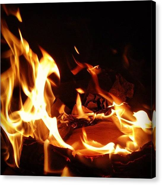Flames Canvas Print - #flame #fire #dark #contrast #burn by Johnny Saunders