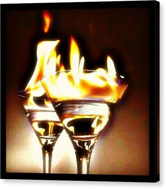 Flames Canvas Print - Flaming #cocktails Make For A Very Good by Mary Carter
