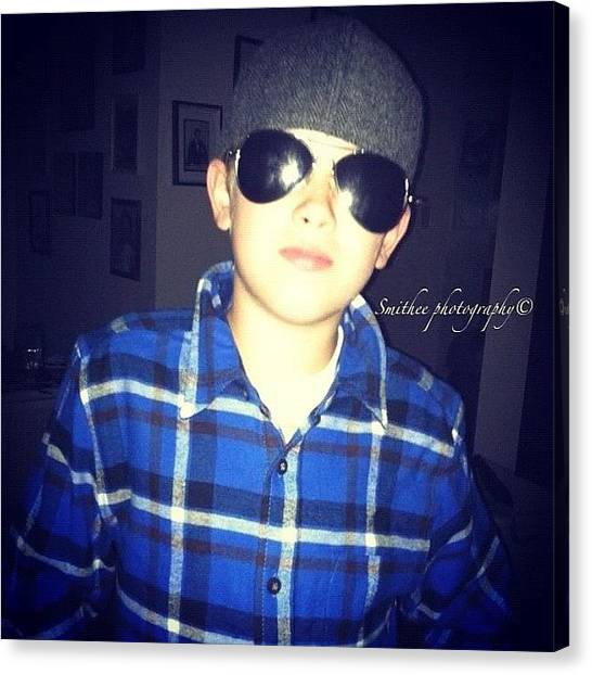 Flannel Canvas Print - #flashback #son #cute #sunglasses by S Smithee
