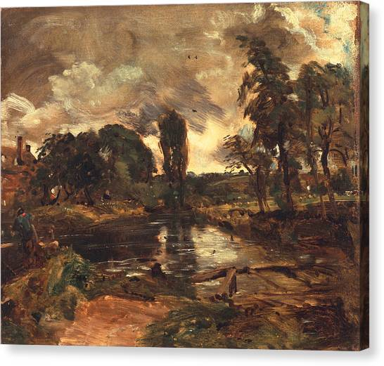 Dedham Canvas Print - Flatford Mill From The Lock by John Constable