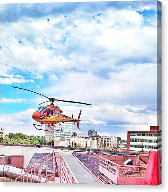 Helicopters Canvas Print - Flight For Life Landing At Denver Health by Jonathan Joslyn