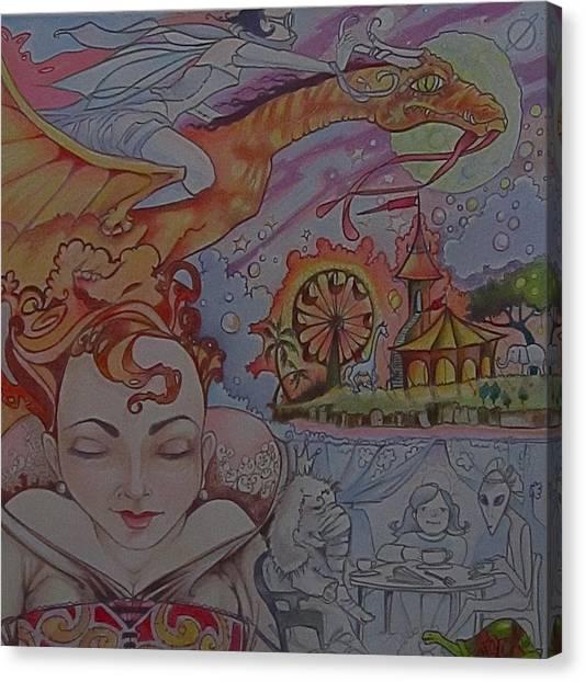 Dragon Circus Alien Moon Canvas Print - Flight Of Fancy by Jackie Rock