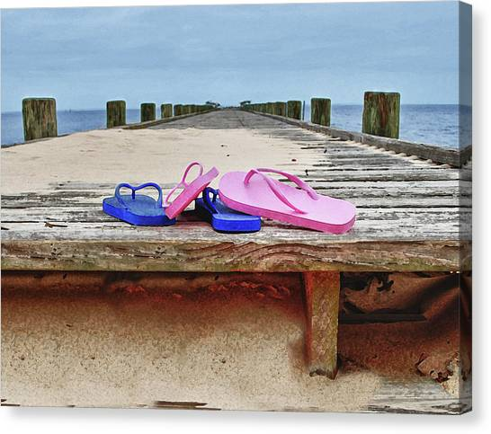 Canvas Print featuring the digital art Flip Flops On The Dock by Michael Thomas