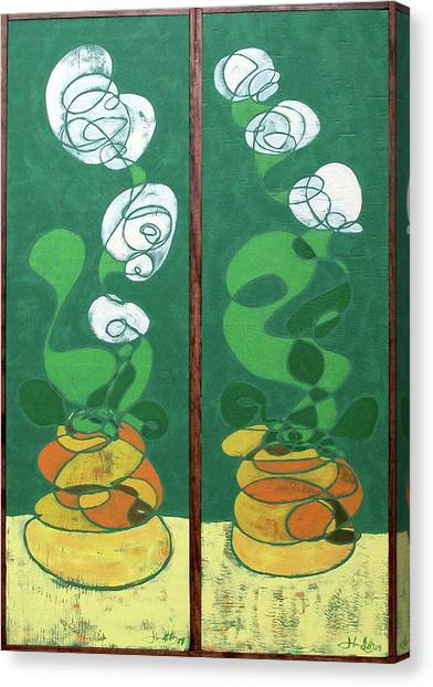Floral Diptych In Green And Orange Canvas Print