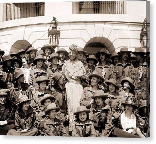Girl Scouts Canvas Print - Florence Harding 1860-1924, Meets by Everett