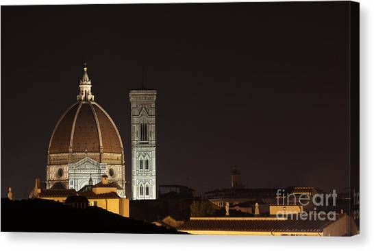 Florence Skyline At Night Canvas Print by Chris Hill