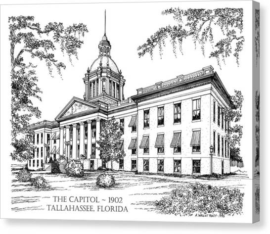 Florida Capitol 1902 Ink Canvas Print