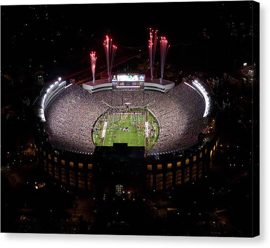 Florida State Fsu Canvas Print - Florida State Fireworks Over Doak Campbell Stadium Aerial View by Replay Photos