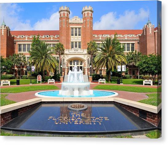 Florida State Fsu Canvas Print - Florida State Fountain At The Westcott Building by Larry Novey