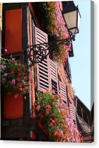 Flower Boxes And Shutters In Alsace Canvas Print by Christopher Mullard