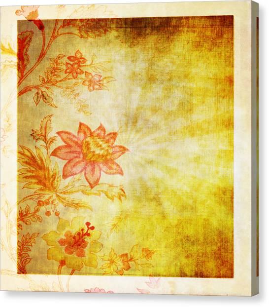 Vintage Polaroid Canvas Print - Flower Pattern by Setsiri Silapasuwanchai