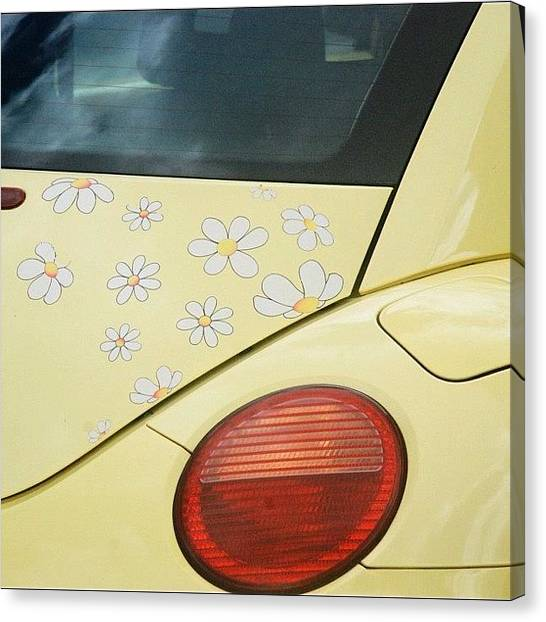 Volkswagen Canvas Print - Flower Power #car #coccinelle #beetle by Val Lao