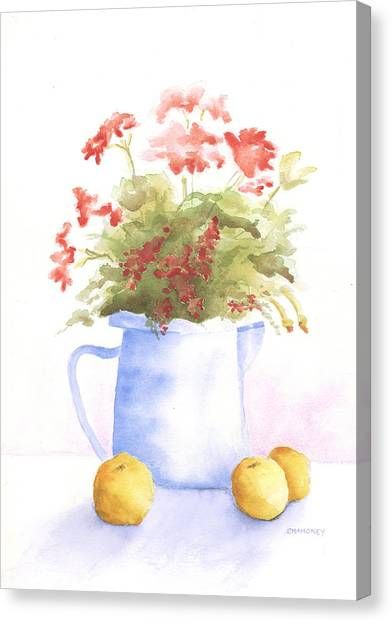 Flowers And Lemons Canvas Print by Susan Mahoney