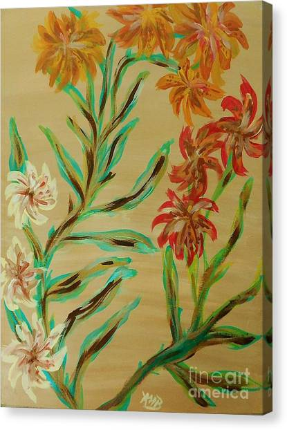 Flowers That Look Like Old Fashioned Wallpaper Canvas Print by Marie Bulger