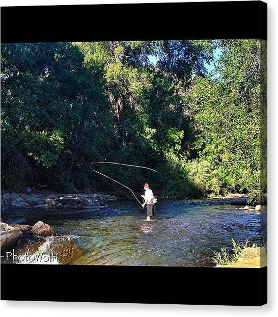 Fly Fishing Canvas Print - Fly Fishing In Golden Colorado by Wolf Stumpf