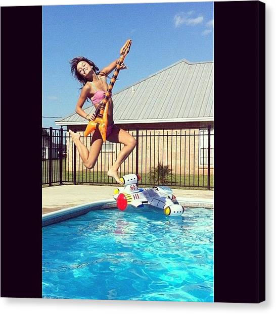 Bikini Canvas Print - #fly #guitar #air #pool #water #camera by Brittany B