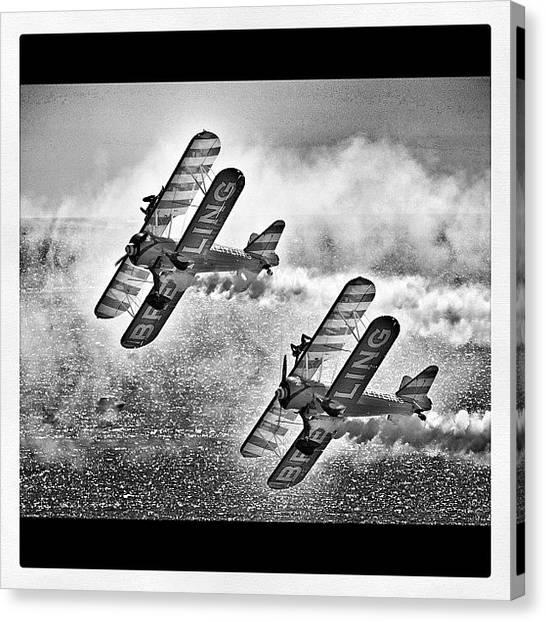 Biplane Canvas Print - Flyers Mono by Kurt Skeels