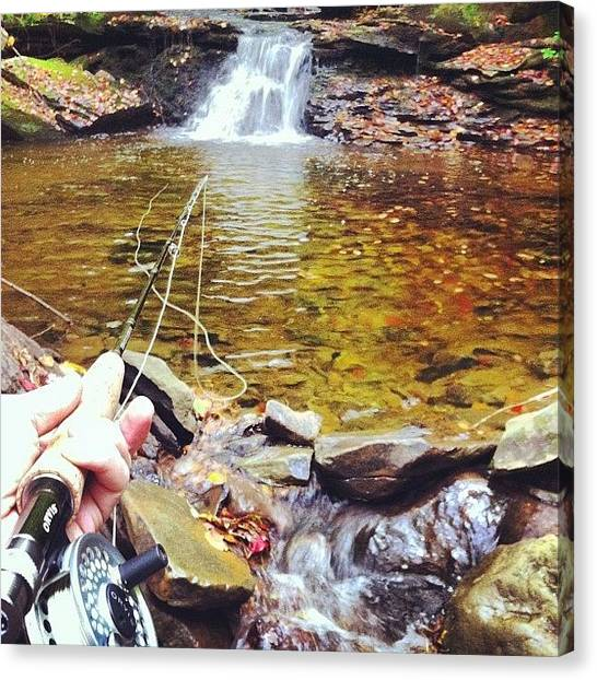 Fly Fishing Canvas Print - Flyfishing by Dave M