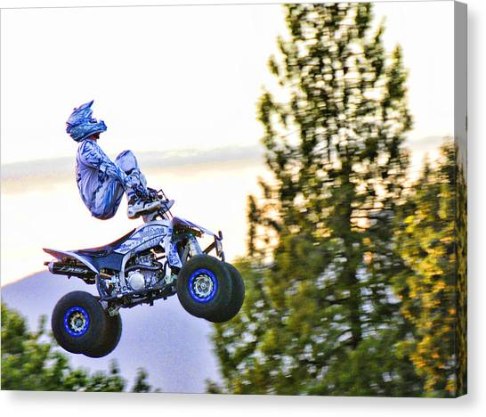Dirt Bikes Canvas Print - Flyin 6 On The Quad by Lawrence Christopher