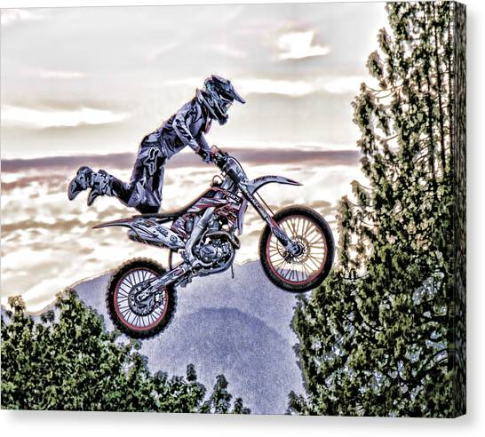 Dirt Bikes Canvas Print - Flying 3 Just Hangin On by Lawrence Christopher