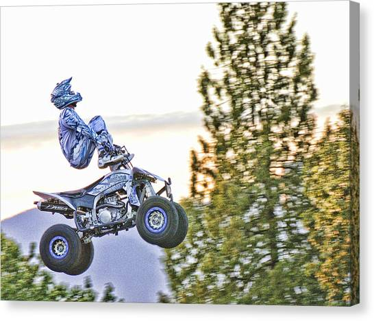 Dirt Bikes Canvas Print - Flying 7 Ouch by Lawrence Christopher