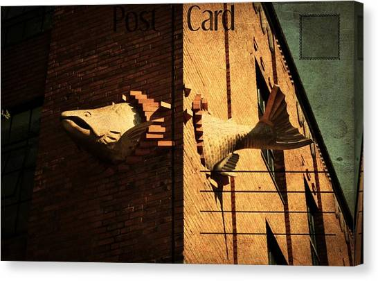 Flying Fish Postcard Canvas Print by Cathie Tyler