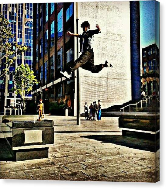 Extreme Sports Canvas Print - Flying #parkour #stride #freerunning by Taha Aitabi